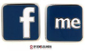 """Gemelolandia en Facebook - Gemelolandia celebra el Día de Internet mostrando gemelos de Internet relacionados con Facebook, Twitter, Google, Apple, Microsoft y la famosa """"arroba"""" @. Gemelolandia - Gemelos para camisas - Gemelos en Internet"""