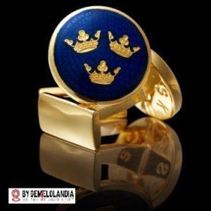 Gemelo Skultuna Three Crowns Royal blue Gold - Gemelos Skultuna para bodas - Casa fundada en 1607 - Skultuna - Gemelos Skultuna - Gemelos Skultuna en Gemelolandia
