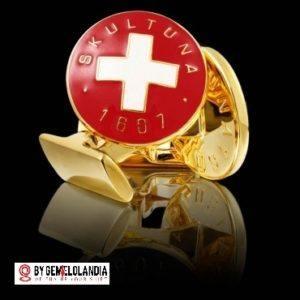 Gemelo Skultuna Cruz Suiza roja y blanca - Gemelos Skultuna para bodas - Casa fundada en 1607 - Skultuna - Gemelos Skultuna - Gemelos Skultuna en Gemelolandia