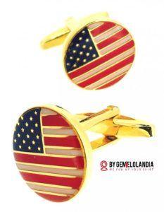 Happy 4th of July - Feliz 4 de julio para todos los americanos que viven en España y conviven con nosotros. Esperamos que este día tan especial celebréis vuestra identidad e Historia con alegría - Gemelolandia - Gemelos para camisa - USA Cufflinks - Cufflinks