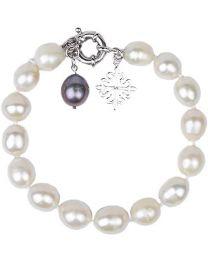 Amaya ARZUAGA - Pulsera de Perlas Modelo Ivory Moon - Pulsera de Perlas cultivadas Color Blanco con Acabados en Playa de Ley 925