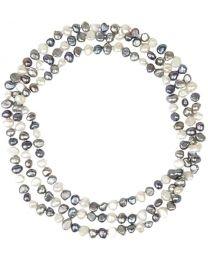 Amaya ARZUAGA - Collar 3 Vueltas Modelo Dark Moon - Collar de Perlas Multicolor cultivadas con Acabados en Plata de Ley 925