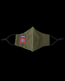 Mascarilla Reutilizable y ajustable de Algodón Color Verde Militar 82nd Airborne US Division