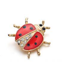Broche Mariquita Cristal Brooch Beetle Pin Crystal 2,6cm