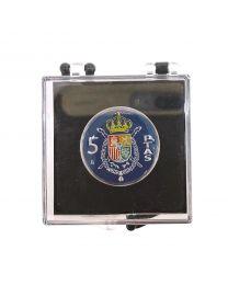 Pin de Solapa Moneda Original Pintada a Mano 5 Pesetas Escudo Juan Carlos I