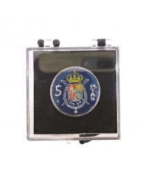 Pin de Solapa Moneda Original Pintada a Mano 1 Peseta Mundial 82 Azul