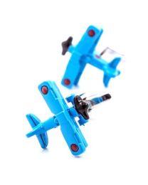 Gemelos para camisa Avión Biplano 3D Azul Claro