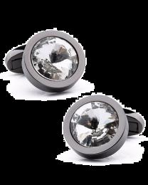 Gemelos para camisa Beour Gun Metal Rounded Black Crystal