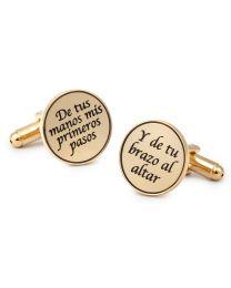 Gemelos para Camisa De tus Manos Mis Primeros Pasos, Y de Tu Brazo al Altar Dorado 15mm