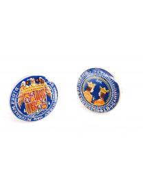 Gemelos para Camisa Plata de Ley 925 Replica Moneda de los Reyes Católicos Aguila de San Juan II Modelo Anverso y Reverso