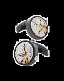 Gemelos para camisas Mecanismo Reloj con Movimiento en Acero Negro