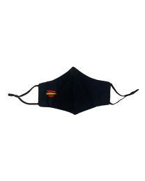 Mascarilla Reutilizable y ajustable de Algodón Color Negro Bandera de España II Bordada
