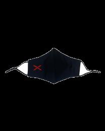 Mascarilla Reutilizable y ajustable de Algodón Color Negro Militar Cruz de San Andres Borgoña Bordada