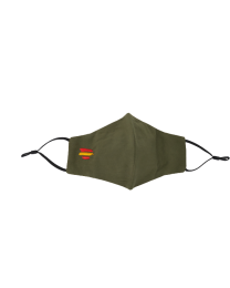 Mascarilla Reutilizable y ajustable de Algodón Color Verde Militar Bandera de España II  Bordada
