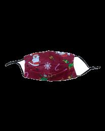 Mascarilla Reutilizable y ajustable de Algodón para Niños Modelo Papa Noel Navidad  Burdeos