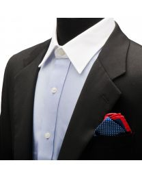 Pañuelo de traje Ox & Bull Navy Dotted Silk with Red Trim