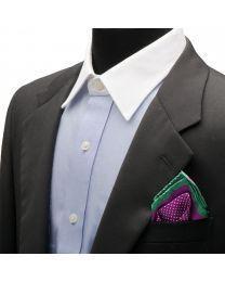 Pañuelo de traje Ox & Bull Purple Dotted Silk Pocket with Green Trim