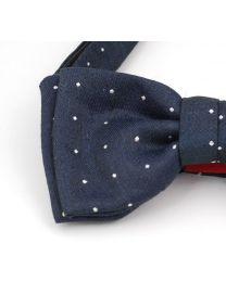 Pajarita de Lino y Seda HUGO Navy White Dots 50312683 Bow Tie