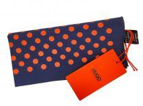 Pañuelo de Bolsillo HUGO de Seda Pura Marino Topos Rojos 33x33 cm