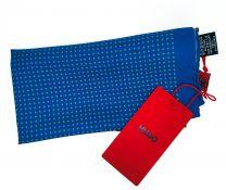Pañuelo de Bolsillo HUGO de Seda Pura Azul y Cuadros Turquesas  33x33 cm