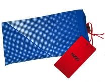 Pañuelo de Bolsillo HUGO de Seda Pura Azul y Puntos Blancos 33x33 cm