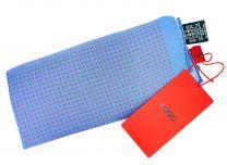 Pañuelo de Bolsillo HUGO de Seda Pura Azul y cuadros Rojos 33x33 cm