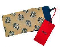 Pañuelo de Bolsillo HUGO de Seda Pura Cashmere Marino y Crema 33x33 cm
