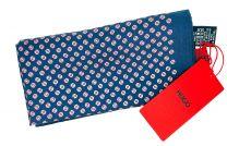 Pañuelo de Bolsillo HUGO de Seda Pura Azul Estampado Rosa 33x33 cm