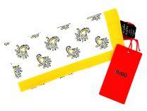 Pañuelo de Bolsillo HUGO de Seda Pura Cashmere Blanco y Amarillo 33x33 cm