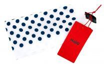 Pañuelo de Bolsillo HUGO de Seda Pura Blanco Topos Azules 33x33 cm