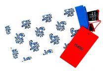 Pañuelo de Bolsillo HUGO de Seda Pura Cashmere blanco y azul 33x33 cm