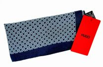 Pañuelo de Bolsillo HUGO de Seda Pura Marino Estampado Turquesa 33x33 cm