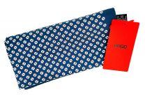 Pañuelo de Bolsillo HUGO de Seda Pura Azul Estampado Blanco 33x33 cm