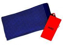 Pañuelo de Bolsillo HUGO de Seda Pura Marino y cuadros blancos 33x33 cm