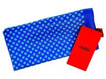 Pañuelo de Bolsillo HUGO de Seda Pura Azul Estampado 33x33 cm