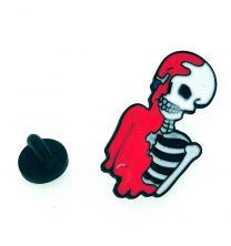 Pin de solapa Esqueleto Pringado de Rosa 37x18mm