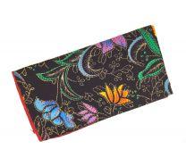 Pañuelo de Algodon Negro Estampado Flores colores 23x23cm