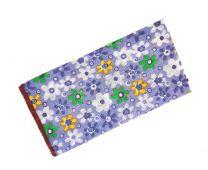 Pañuelo de Algodon Azul Cielo Estampado Flores 23x23cm