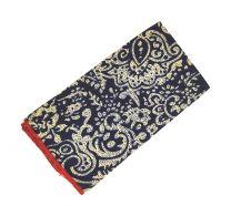 Pañuelo de Algodon Marino Estampado Detalles Crema 23x23cm