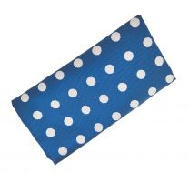 Pañuelo de Algodon Azul Brillo Topos Grises 23x23cm
