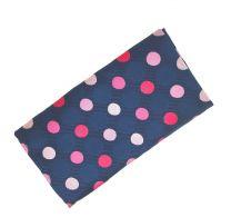Pañuelo de Algodon Azul Brillo Topos Rosas variados 23x23cm