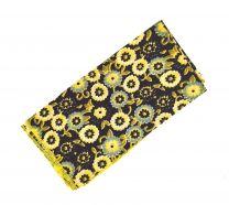 Pañuelo de Algodon Negra Flores Amarillas 23x23cm