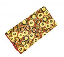 Pañuelo de Algodon Marron Flores Amarillas 23x23cm