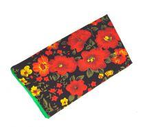 Pañuelo de Algodon Negro Flores Rojas Amarillas 23x23cm