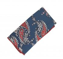 Pañuelo de Algodon Marino Estampado Cashmere 23x23cm