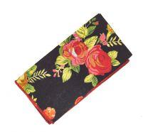 Pañuelo de Algodon Negro Estampado Flores 23x23cm