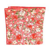 Pañuelo de Algodon Rosa Floreado 23,5 x 23,5 cm