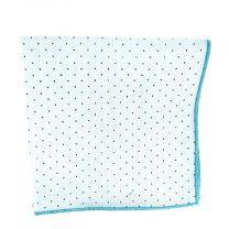Pañuelo de Algodon Azul Cielo Topos Marrones 23,5 x 23,5 cm