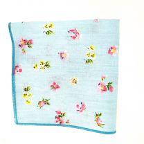 Pañuelo de Algodon Azul Cielo Floreado 23,5 x 23,5 cm