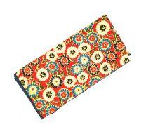 Pañuelo de Algodon Roja Estampado Flores 23x23cm
